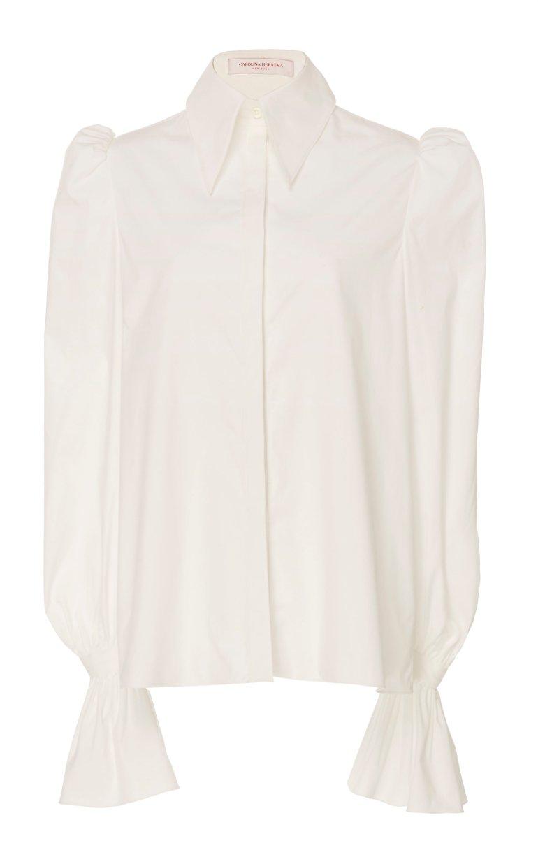 large_carolina-herrera-white-puff-sleeve-cotton-blend-shirt