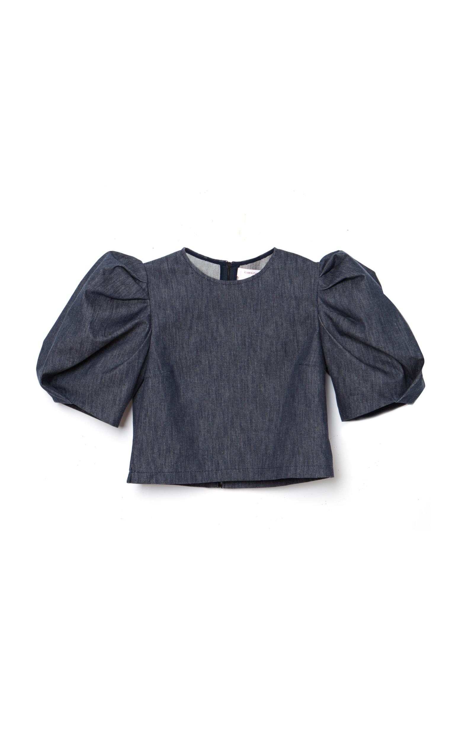 large_carolina-herrera-navy-puff-sleeve-stretch-denim-crop-top