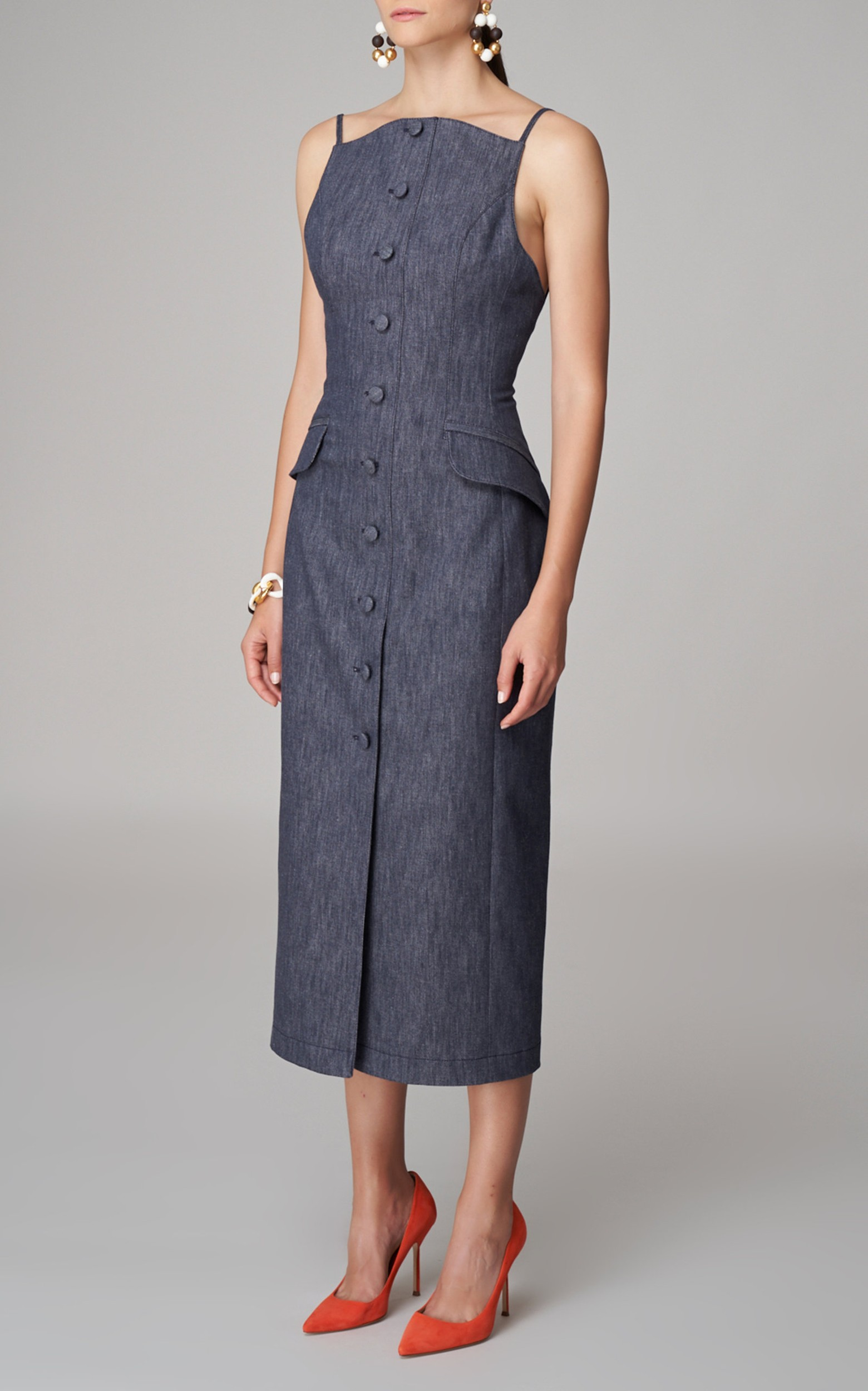 large_carolina-herrera-navy-stretch-denim-button-front-midi-dress